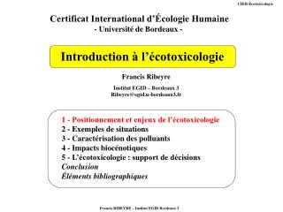 Introduction   l  cotoxicologie