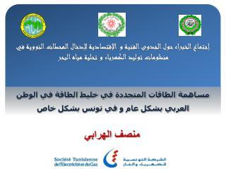 مساهمة الطاقات المتجددة في خليط الطاقة في الوطن العربي بشكل عام  و  في تونس بشكل خاص