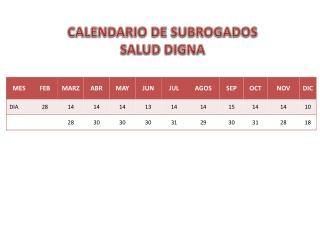 CALENDARIO DE SUBROGADOS  SALUD DIGNA