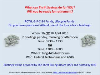 Retirement & TSP Briefings April 2013