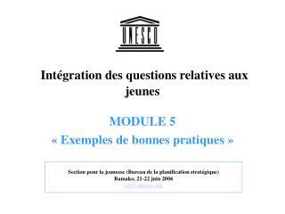 Intégration des questions relatives aux jeunes  MODULE 5  «  Exemples de bonnes pratiques  »