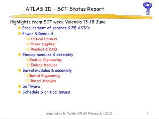 ATLAS ID - SCT Status Report