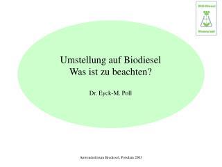 Anwenderforum Biodiesel, Potsdam 2003