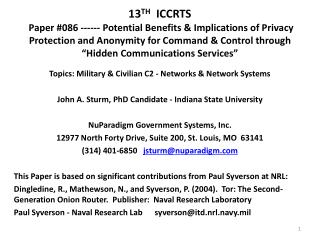 Topics: Military & Civilian C2 - Networks & Network Systems