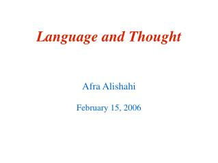 Language and Thought