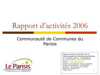 Rapport d'activités 2006
