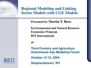 Regional Modeling and Linking Sector Models with CGE Models