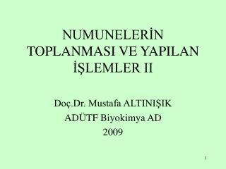 NUMUNELERİN TOPLANMASI VE YAPILAN İŞLEMLER II