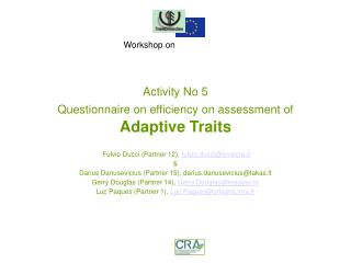 Activity No 5 Questionnaire on efficiency on  assessment of Adaptive Traits