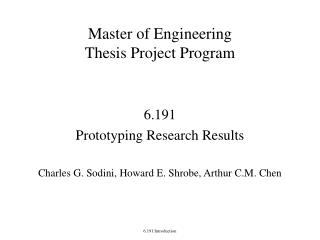 Master of Engineering Thesis Project Program