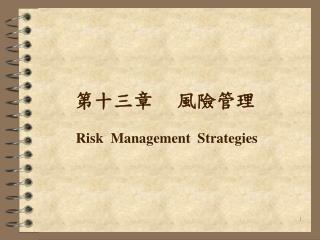 第十三章      風險管理