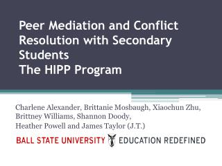 Peer Mediation and Conflict Resolution with Secondary  Students  The HIPP Program