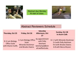 Abstract Reviewers Schedule