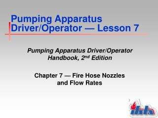 Pumping Apparatus Driver/Operator  —  Lesson 7