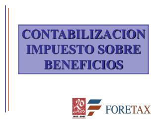 CONTABILIZACION IMPUESTO SOBRE BENEFICIOS