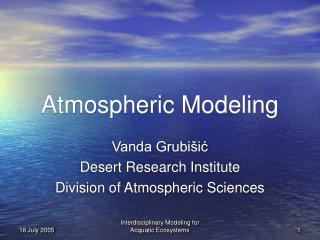 Atmospheric Modeling