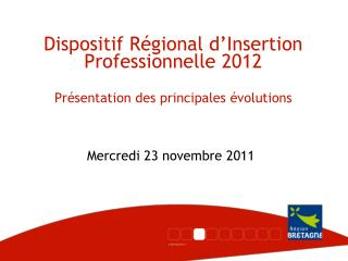 Dispositif R�gional d�Insertion Professionnelle 2012 Pr�sentation des principales �volutions