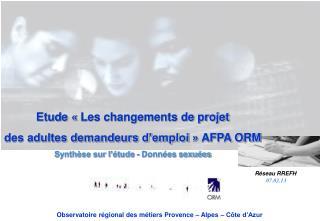 Etude «Les changements de projet des adultes demandeurs d'emploi» AFPA ORM