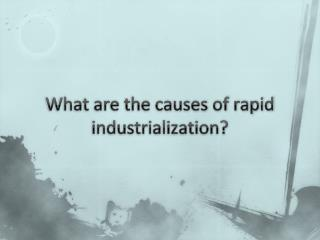 What are the causes of rapid  industrialization?