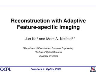 Reconstruction with Adaptive Feature-specific Imaging