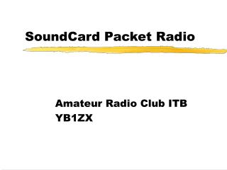 SoundCard Packet Radio