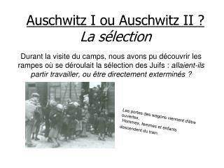 Auschwitz I ou Auschwitz II ? La s�lection