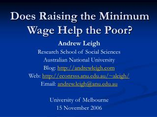 Does Raising the Minimum Wage Help the Poor?