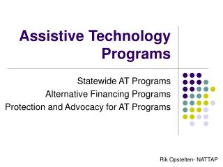Assistive Technology Programs