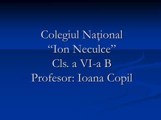 """Colegiul Na ţional  """"Ion Neculce"""" Cls. a VI-a B Profesor: Ioana Copil"""