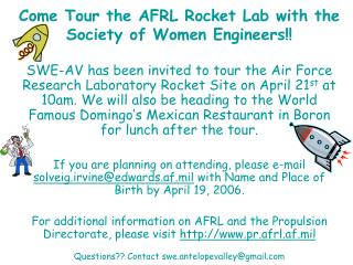 Come Tour the AFRL Rocket Lab with the Society of Women Engineers!!