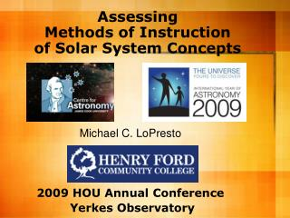 Assessing  Methods of Instruction  of Solar System Concepts