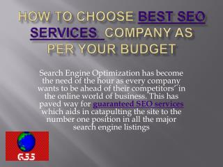 How to Choose a SEO Company as Per your Budget