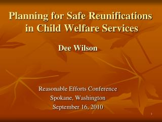 Planning for Safe Reunifications   in Child Welfare Services