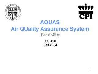 AQUAS Air QUality Assurance System