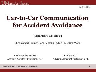 Car-to-Car Communication for Accident Avoidance