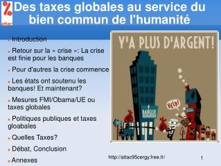 Des taxes globales au service du bien commun de l'humanité