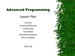 Advanced  P rogramming