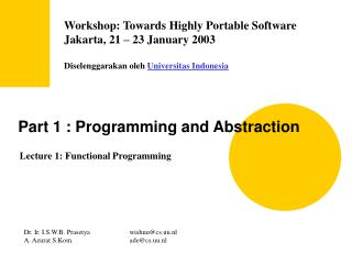 Part 1 : Programming and Abstraction