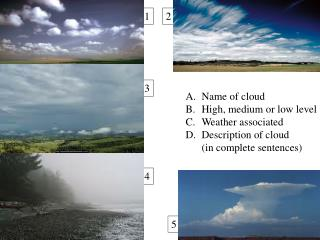 Name of cloud High, medium or low level Weather associated Description of cloud