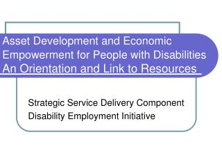 Strategic Service Delivery Component Disability Employment Initiative
