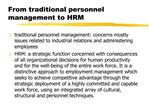 From traditional personnel management to HRM