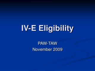 IV-E Eligibility