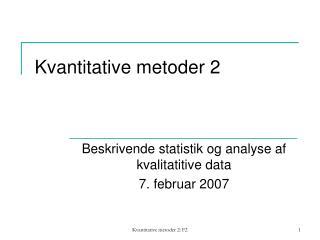 Kvantitative metoder 2