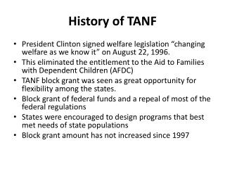 History of  TANF