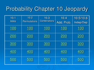 Probability Chapter 10 Jeopardy