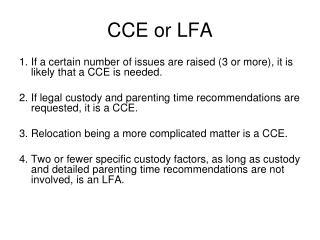 CCE or LFA