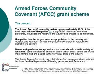 Armed Forces Community Covenant (AFCC) grant scheme