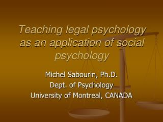 Teaching legal psychology as an application of social psychology