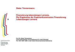 Dieter Timmermann: Finanzierung lebenslangen Lernens.