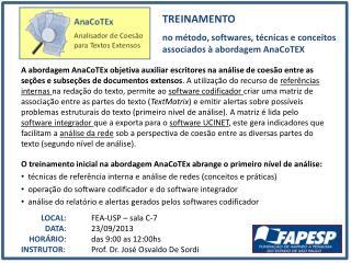TREINAMENTO no método, softwares, técnicas e conceitos associados à abordagem  AnaCoTEX